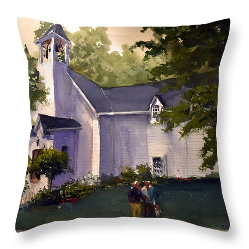 Liberty Throw Pillow featuring the painting Liberty Chapel 2019 by Charles Rowland