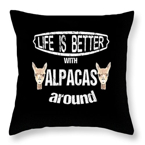 Llama Throw Pillow featuring the digital art Life Is Better With Alpacas Around by Grace Collett