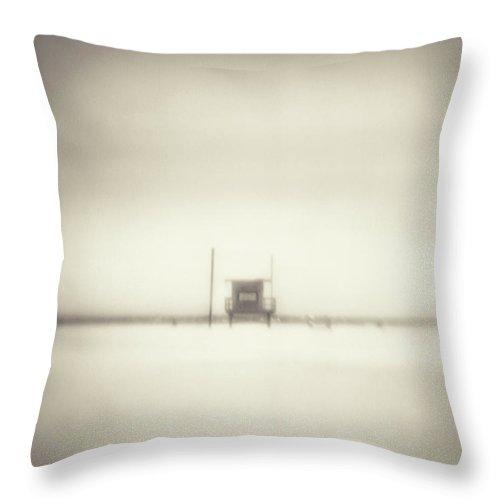 California Throw Pillow featuring the photograph Lifeguard Hut On Santa Monica Beach by Alan Horsager
