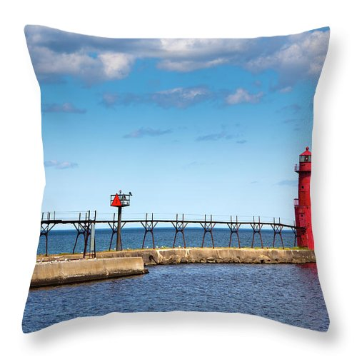 Lake Michigan Throw Pillow featuring the photograph Lighthouse And Pier On Lake Michigan by Jamesbrey