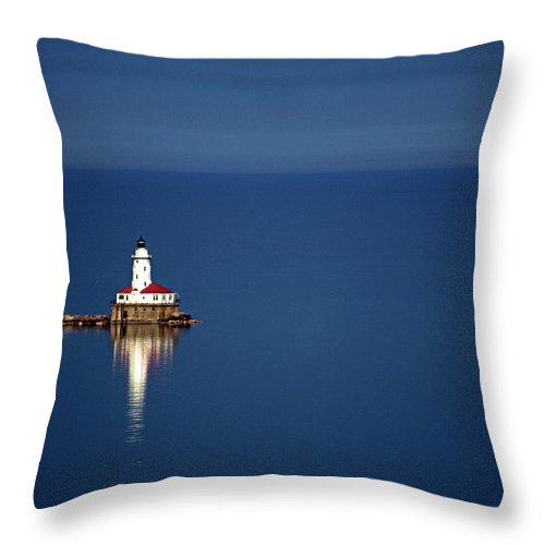 Outdoors Throw Pillow featuring the photograph Lighthouse On A Lake by By Ken Ilio