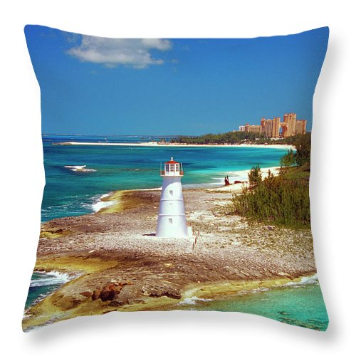 Outdoors Throw Pillow featuring the photograph Lighthouse On Paradise Island-nassau by Medioimages/photodisc
