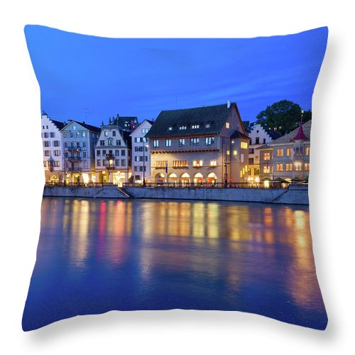 Zurich Throw Pillow featuring the photograph Limmat River Waterfront In Downtown by Benedek
