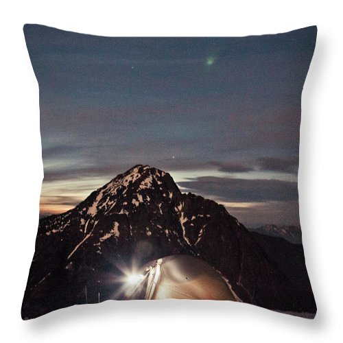 Camping Throw Pillow featuring the photograph Lit Tent At Night by Christopher Kimmel
