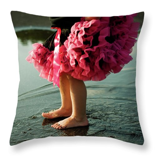 Toddler Throw Pillow featuring the photograph Little Girls Feet Splashing And Dancing by Ssj414