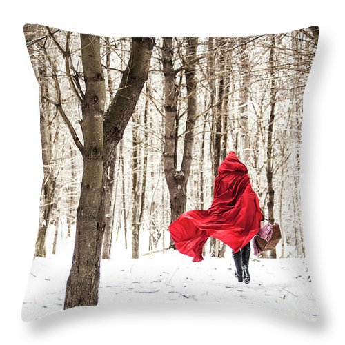 Little Red Riding Hood Throw Pillow featuring the photograph Little Red Riding Hood by Trevor Slauenwhite