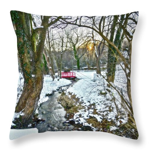 2d Throw Pillow featuring the photograph Little Red Walk Bridge by Brian Wallace