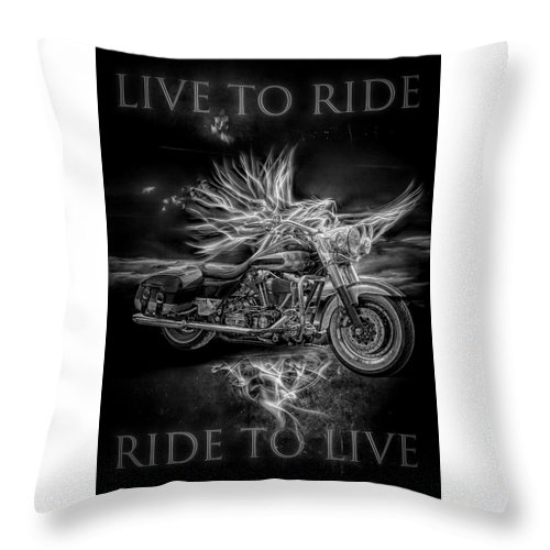 Indian Throw Pillow featuring the digital art Live To Ride, Ride To Live Black And White by Debra and Dave Vanderlaan