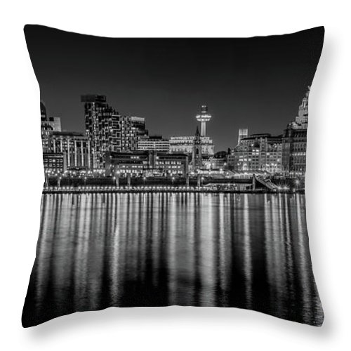 Skyline Throw Pillow featuring the photograph Liverpool Skyline In The Night Black And White by Paul Madden
