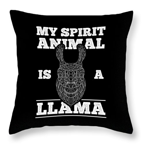 Llama Throw Pillow featuring the digital art Llama Is My Spirit Animal Funny by Grace Collett