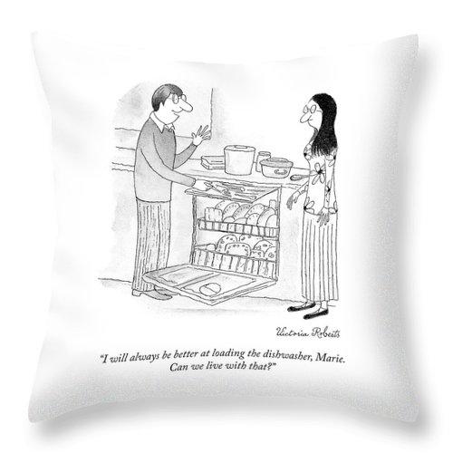 Loading the Dishwasher Throw Pillow