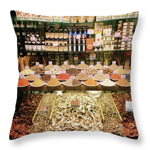Italian Food Throw Pillow featuring the photograph Local Foods For Sale In A Store In by Cultura Exclusive/philip Lee Harvey