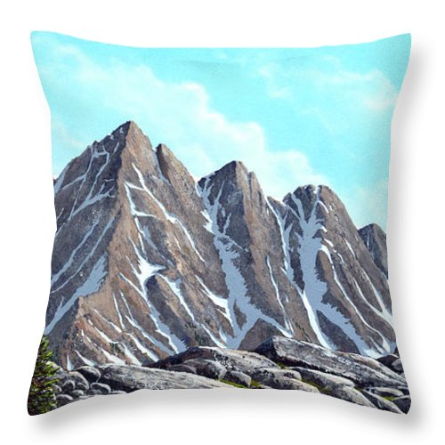 Landscape Throw Pillow featuring the painting Lofty Peaks by Frank Wilson