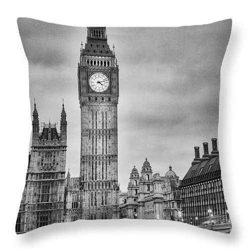 Clock Tower Throw Pillow featuring the photograph London, Big Ben, Black And White by Elisabeth Pollaert Smith