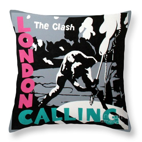London Calling Throw Pillow featuring the painting London Calling The Clash by Amy Belonio