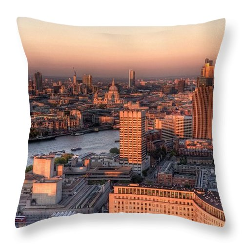 Cityscape Throw Pillow featuring the photograph London Cityscape At Sunset by Michael Lee
