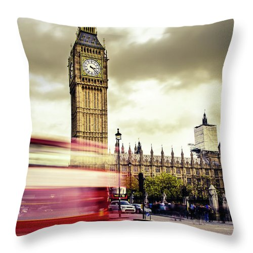 Clock Tower Throw Pillow featuring the photograph London Double Decker Bus Near Big Ben by Filippobacci
