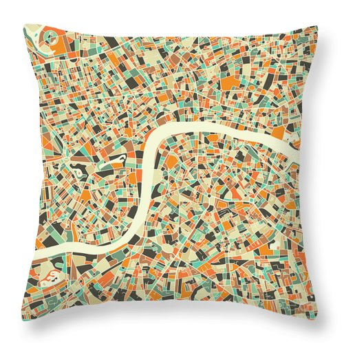 London Throw Pillow featuring the digital art London Map 1 by Jazzberry Blue