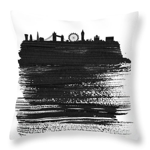 London Throw Pillow featuring the mixed media London Skyline Brush Stroke Black by Naxart Studio
