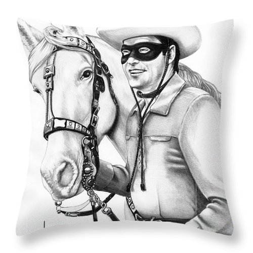 Pencil Throw Pillow featuring the drawing Lone Ranger by Murphy Elliott