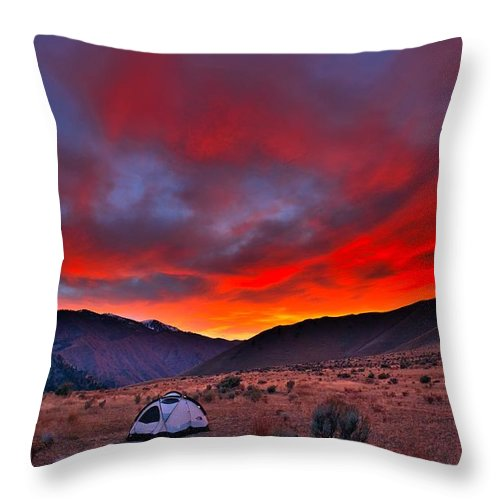 Sunset Throw Pillow featuring the photograph Lone Tent by Tom Gresham