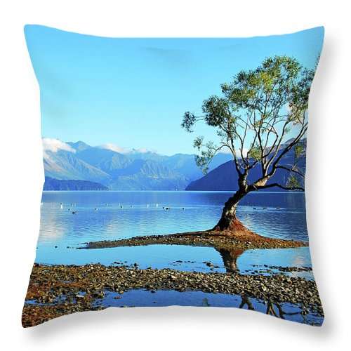 Lone Tree In Lake Wanaka Throw Pillow For Sale By Olga Katrychenko New Zealand