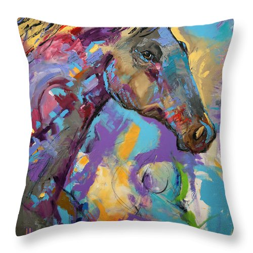 Laurie Pace Horse Throw Pillow featuring the painting Loner by Laurie Pace