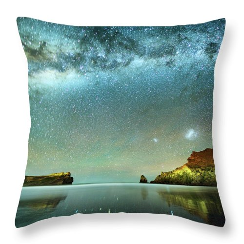Galaxy Throw Pillow featuring the photograph Long Exposure Of Stars by Piskunov