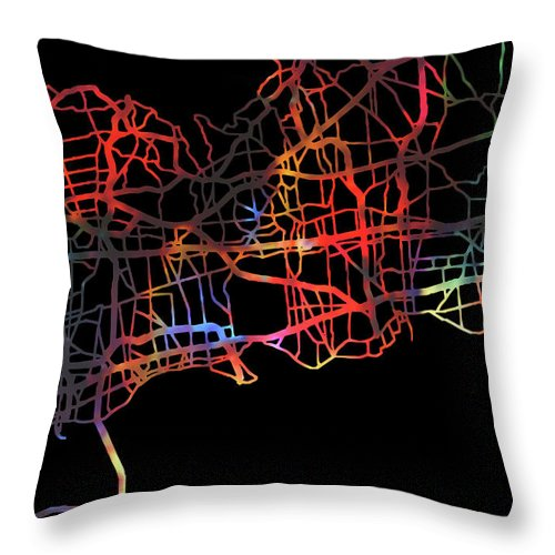 Long Island Throw Pillow featuring the mixed media Long Island New York Watercolor City Street Map Dark Mode by Design Turnpike