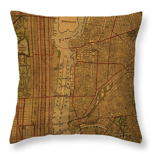 Long Island Throw Pillow featuring the mixed media Long Island Section Queens New York Vintage City Street Map 1911 by Design Turnpike