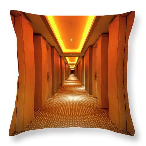 Long Throw Pillow featuring the photograph Long, Narrow Corridor With Retro Themed by Dogayusufdokdok