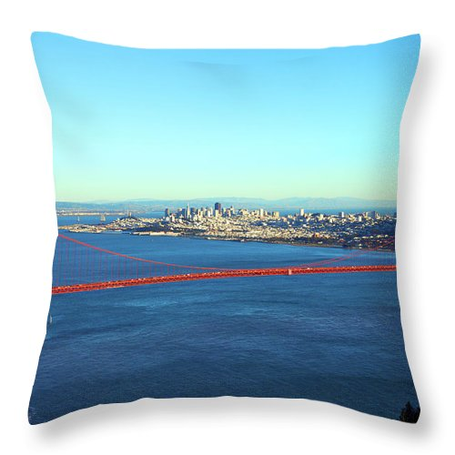 Downtown District Throw Pillow featuring the photograph Looking Down At The San Francisco Bridge by Ekash