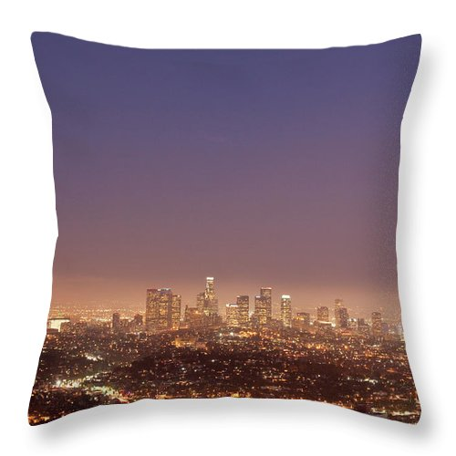 Scenics Throw Pillow featuring the photograph Los Angeles Skyline At Twilight by Uschools