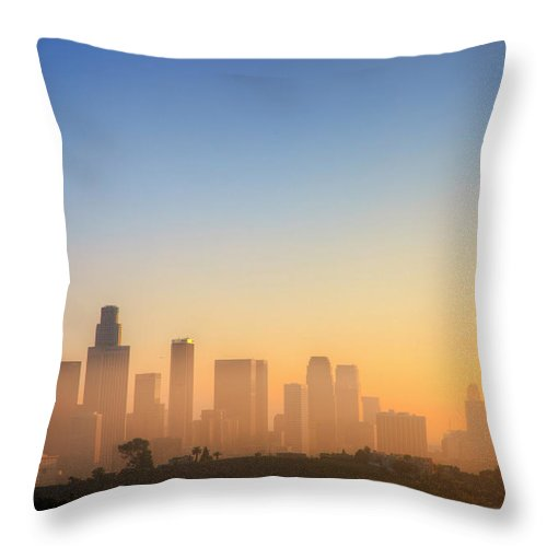 Tranquility Throw Pillow featuring the photograph Los Angeles Sunset by Eric Lo