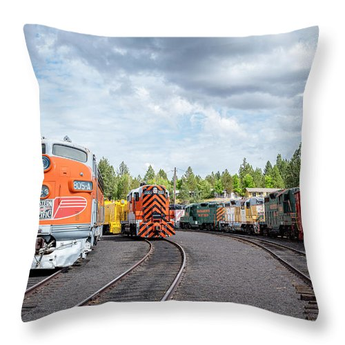 Caklifornia Throw Pillow featuring the photograph Lotsa Locomotives by Jim Thompson