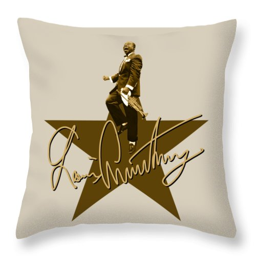 Louis Armstrong Throw Pillow featuring the digital art Louis Armstrong - Signature by David Richardson