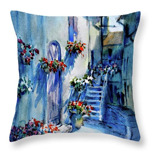 Landscape Throw Pillow featuring the painting Lourmarin Walk by Virgil Carter