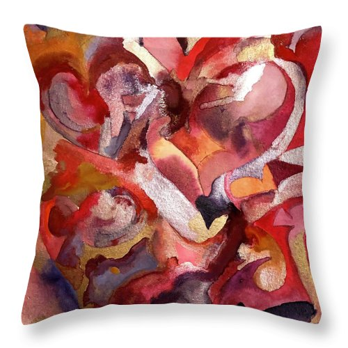 Hearts Throw Pillow featuring the painting Love Valentine's Day by Ceil Diskin