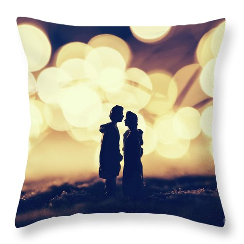 Man Throw Pillow featuring the photograph Loving Couple Standing In A Cozy Winter Scenery. by Michal Bednarek