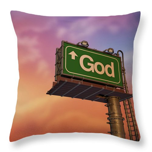 Information Medium Throw Pillow featuring the photograph Low Angle View Of A God Billboard At by Philpell