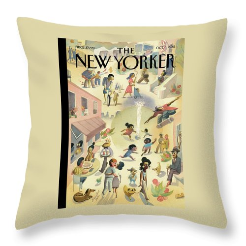 Lower East Side Throw Pillow featuring the painting Lower East Side by Marcellus Hall