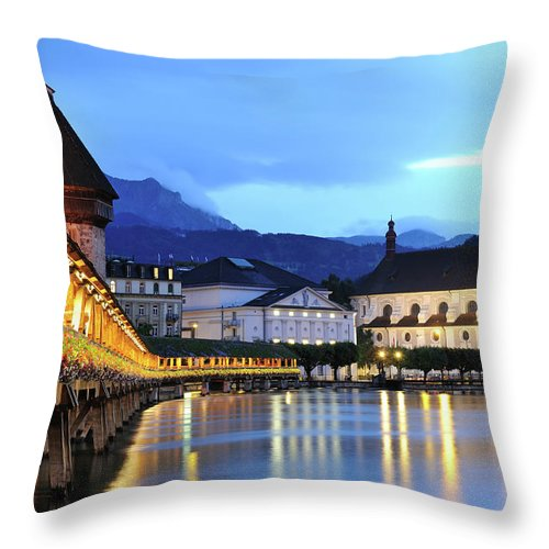 Built Structure Throw Pillow featuring the photograph Lucerne At Dusk by Aimintang