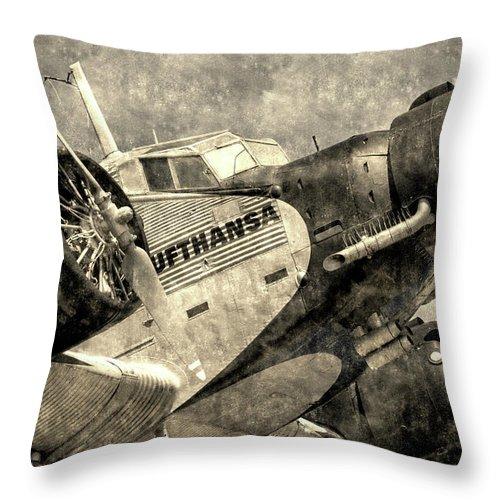 Ww2 Vintage Photo Throw Pillow featuring the photograph Lufthansa Junkers Ju 52 Vintage by David Pyatt
