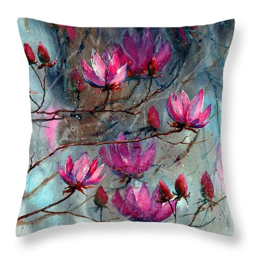Night Throw Pillow featuring the painting Magnolia At Midnight by Suzann Sines