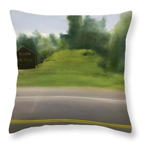 Mail Pouch Barn Throw Pillow featuring the painting Mail Pouch Barn by Sheila Mashaw