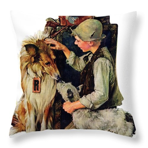 Boy Throw Pillow featuring the drawing Making Friends by Norman Rockwell
