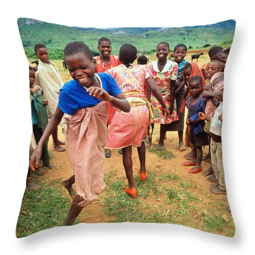 Human Settlement Throw Pillow featuring the photograph Malawi,mapira Refugee Camp,children by Penny Tweedie
