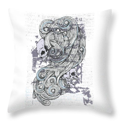 Skull Throw Pillow featuring the digital art Maleficent 1930 Skulls And Swirls by Passion Loft