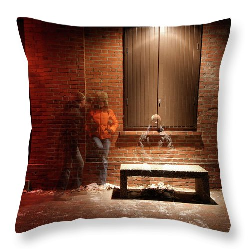 Mature Adult Throw Pillow featuring the photograph Man And Woman Leaning Against A Brick by Lori Andrews