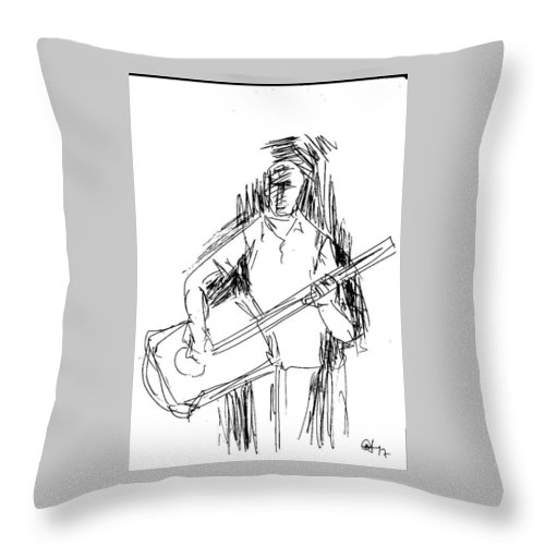 Pen Work On Paper Throw Pillow featuring the drawing Man On Guitar by Mustafa Attari